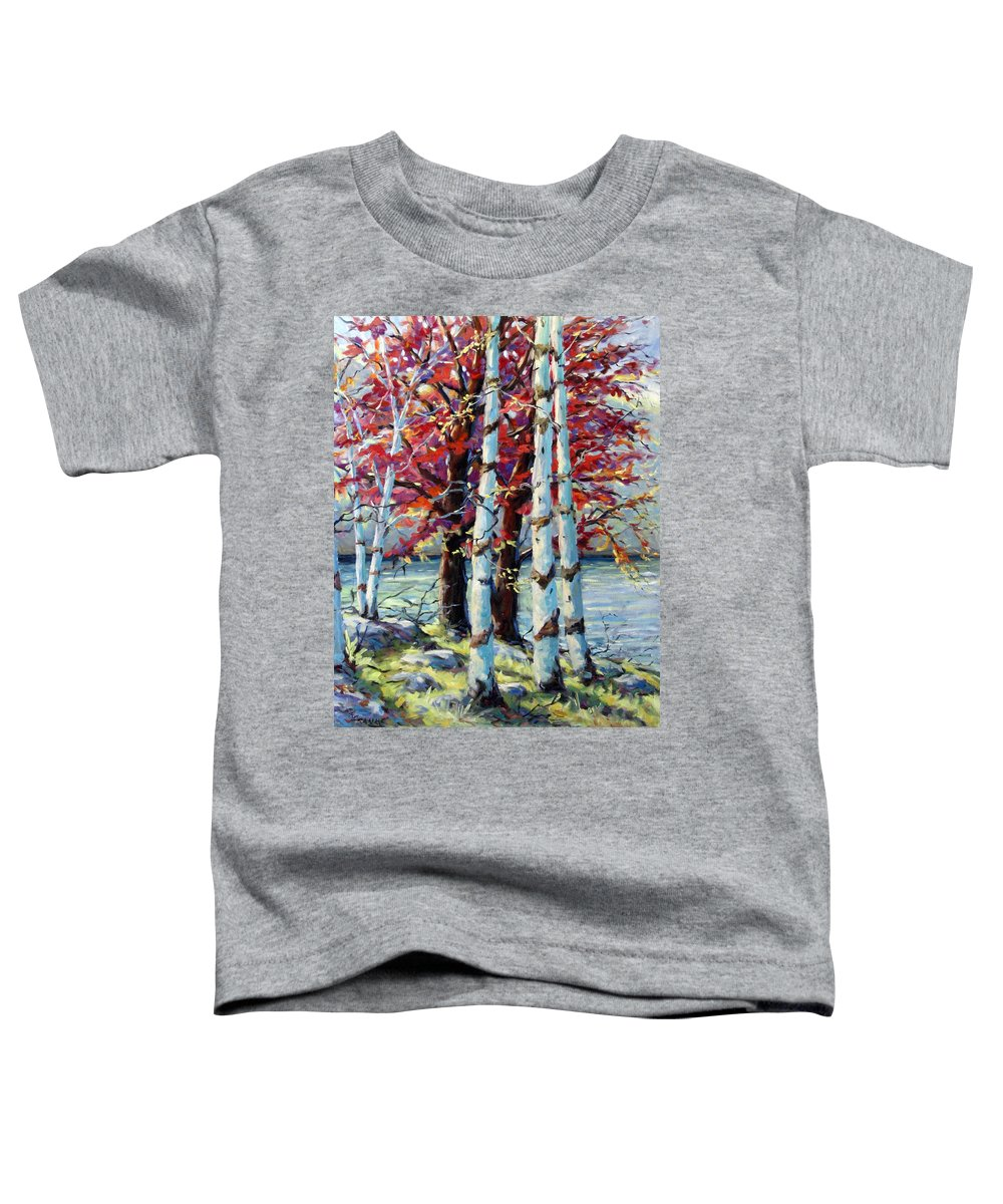 Birches Toddler T-Shirt featuring the painting Red Splash by Richard T Pranke