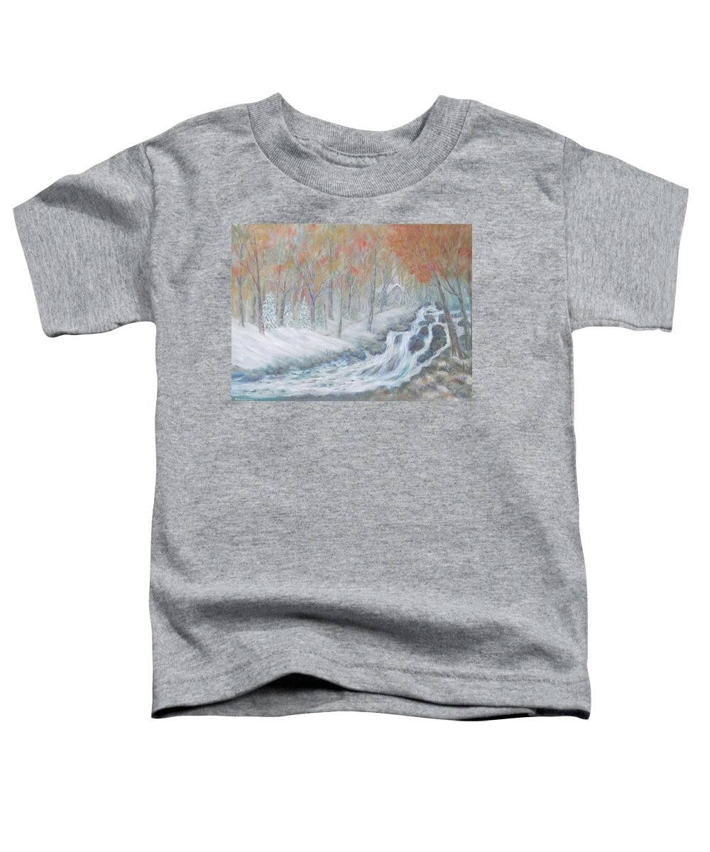 Snow; Landscape; Church Toddler T-Shirt featuring the painting Reverence by Ben Kiger