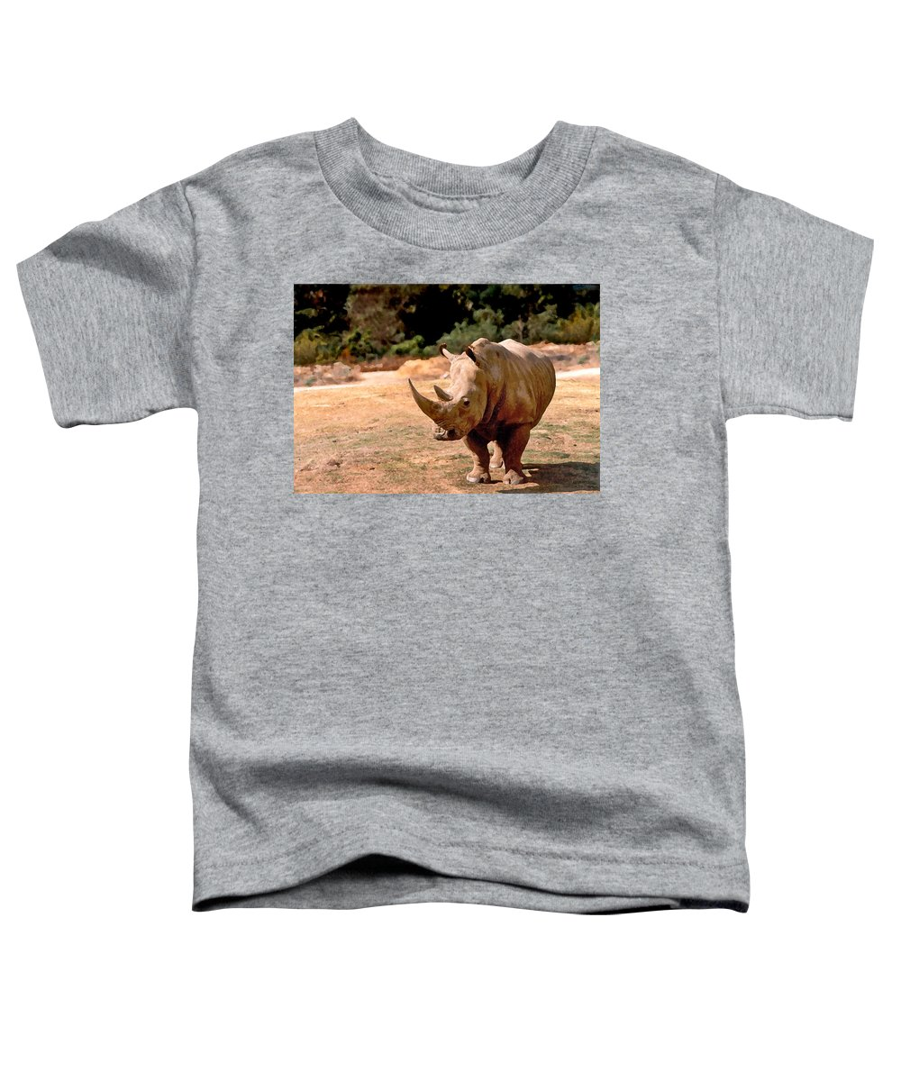 Animal Toddler T-Shirt featuring the painting Rhino by Steve Karol