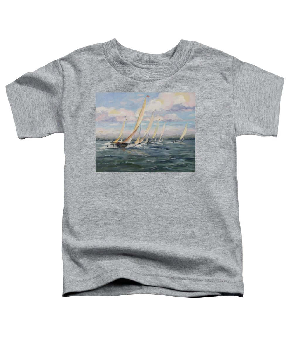 Riding Waves Toddler T-Shirt featuring the painting Riding The Waves by Jay Johnson