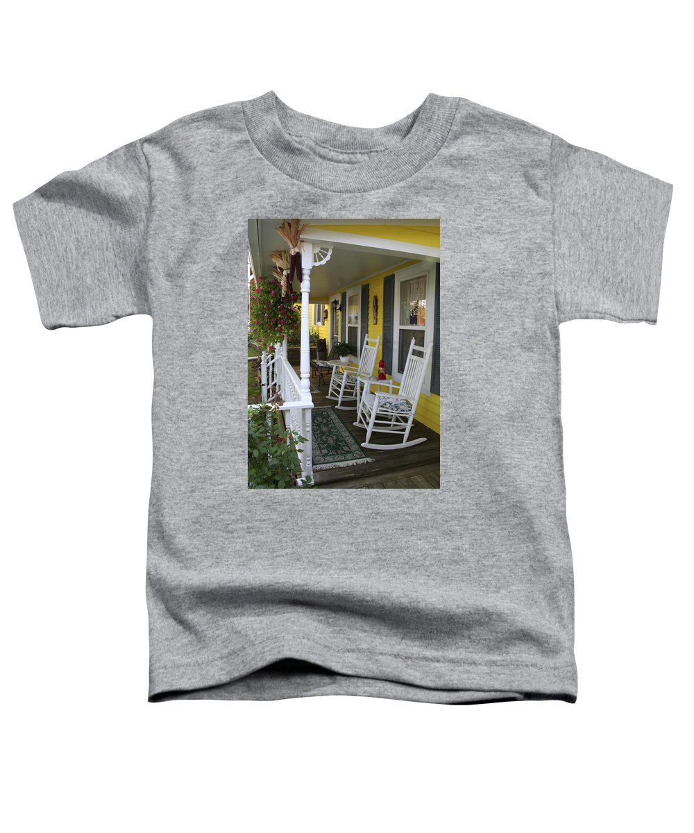 Rocking Chair Toddler T-Shirt featuring the photograph Rockers On The Porch by Margie Wildblood