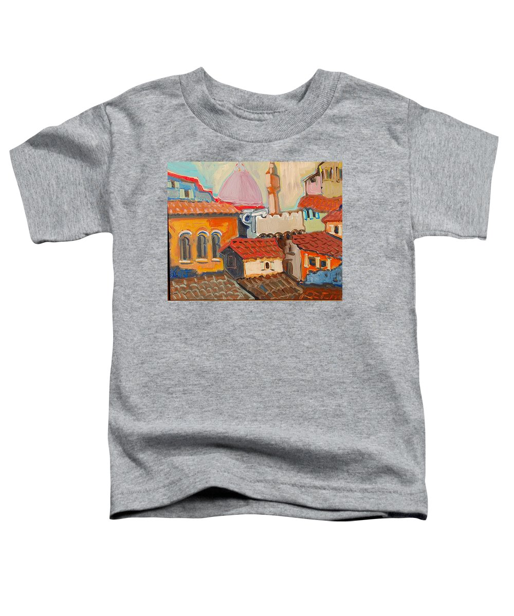 Florence Toddler T-Shirt featuring the painting Rooftops by Kurt Hausmann