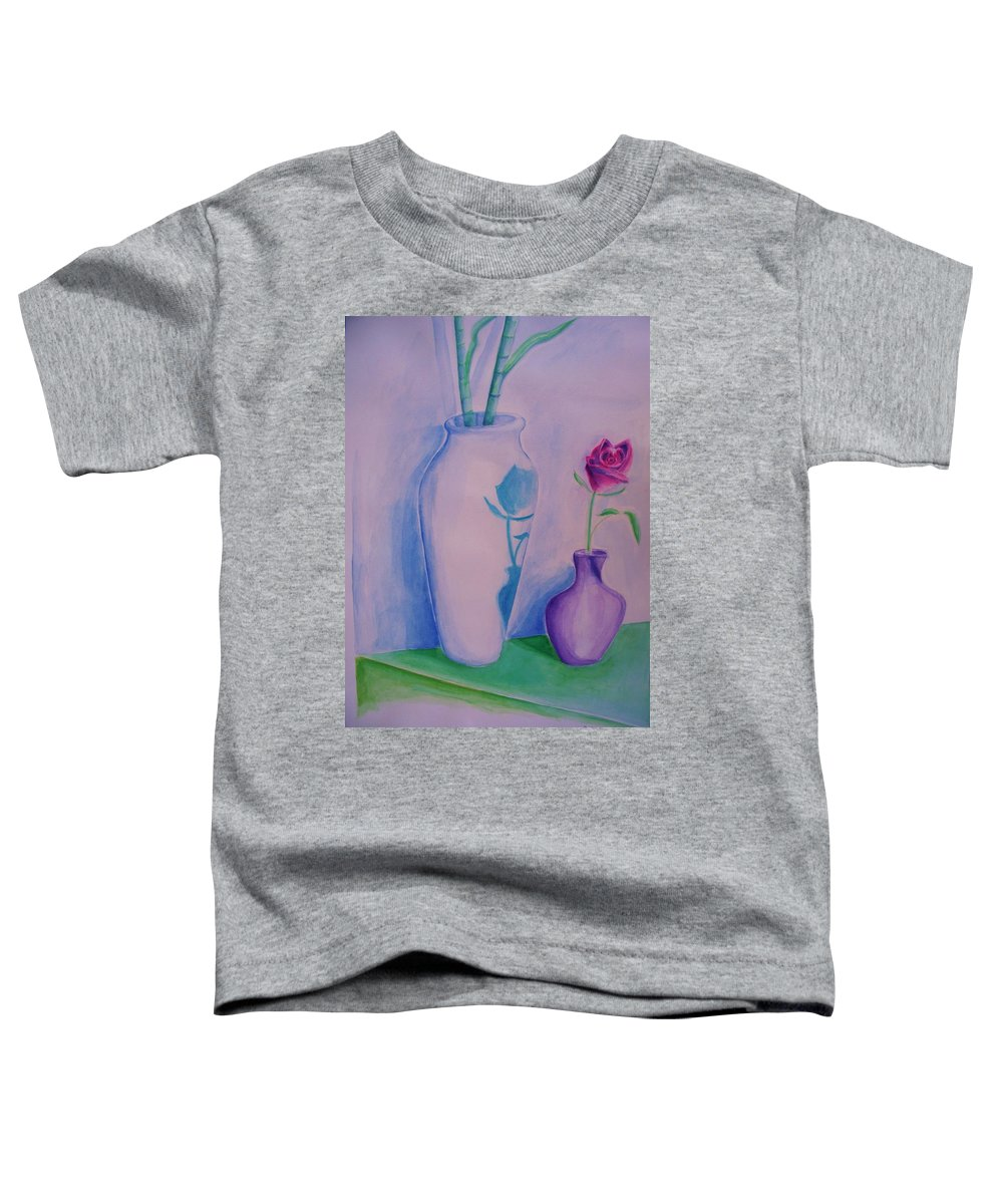 Red Rose Toddler T-Shirt featuring the painting Roses In Vase by Eric Schiabor
