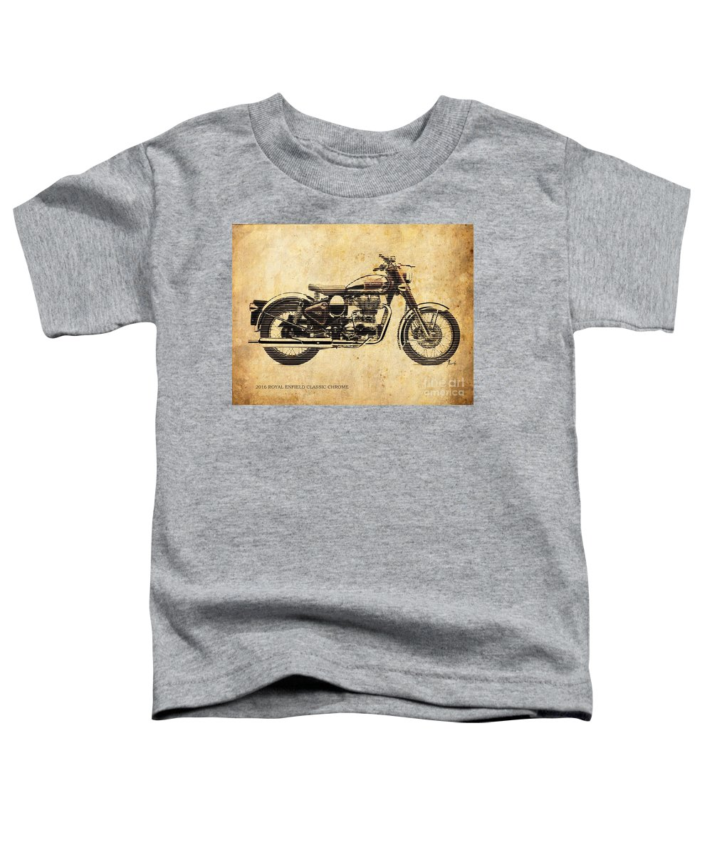 Royal Enfield Toddler T-Shirt featuring the digital art Royal Enfield Classic Chrome 2016, Poster For Men Cave by Drawspots Illustrations