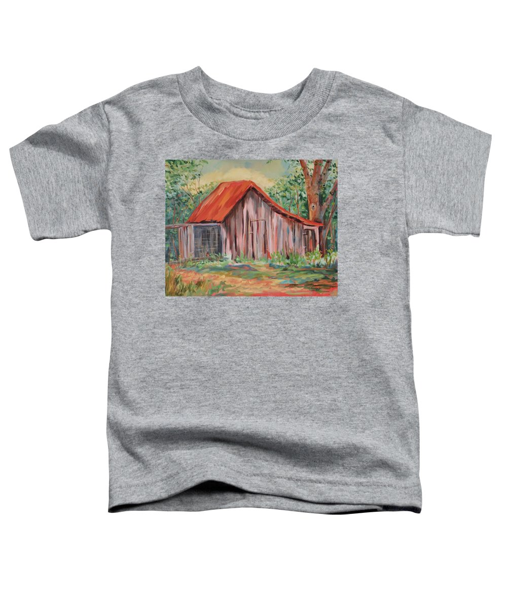 Chicken Coops Toddler T-Shirt featuring the painting Russel Crow by Ginger Concepcion