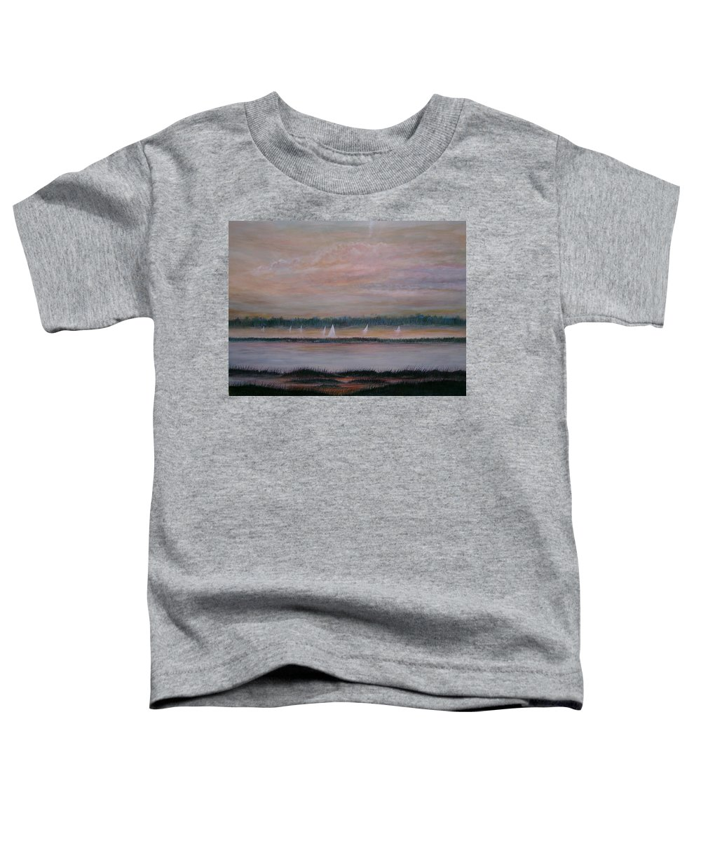 Sailboats; Marsh; Sunset Toddler T-Shirt featuring the painting Sails In The Sunset by Ben Kiger