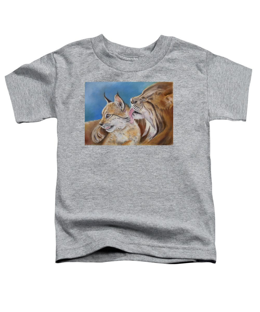 Iberian Lynx Toddler T-Shirt featuring the painting Saliega Y Brezo by Ceci Watson
