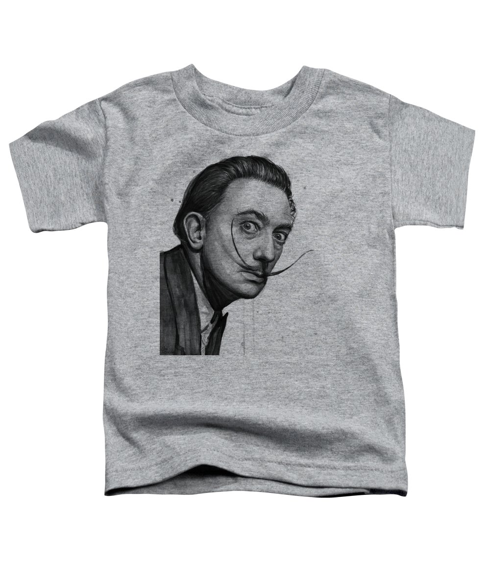 Salvador Dali Toddler T-Shirt featuring the painting Salvador Dali Portrait Black And White Watercolor by Olga Shvartsur