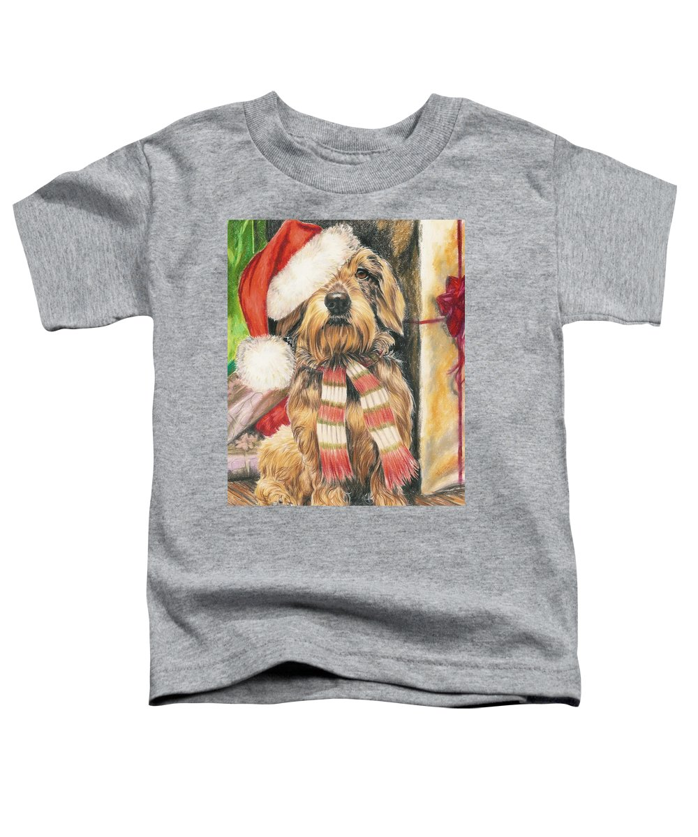 Hound Group Toddler T-Shirt featuring the drawing Santas Little Yelper by Barbara Keith
