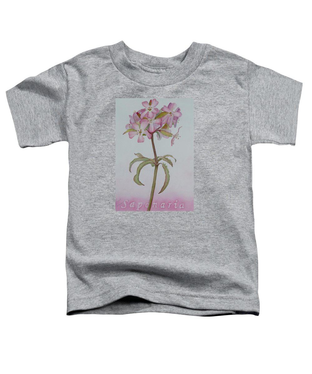 Flower Toddler T-Shirt featuring the painting Saponaria by Ruth Kamenev