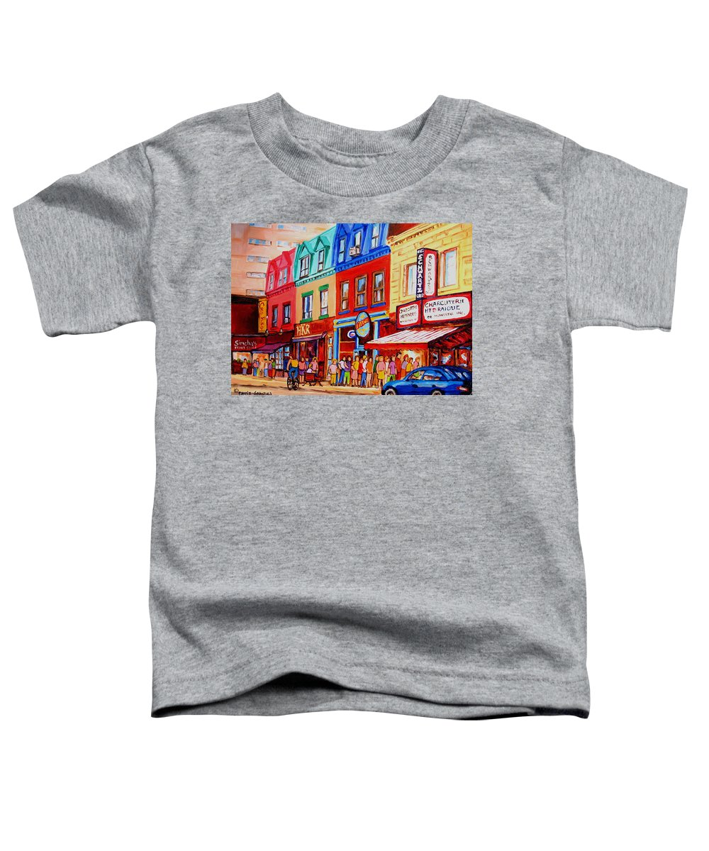Cityscape Toddler T-Shirt featuring the painting Schwartz Lineup With Simcha by Carole Spandau