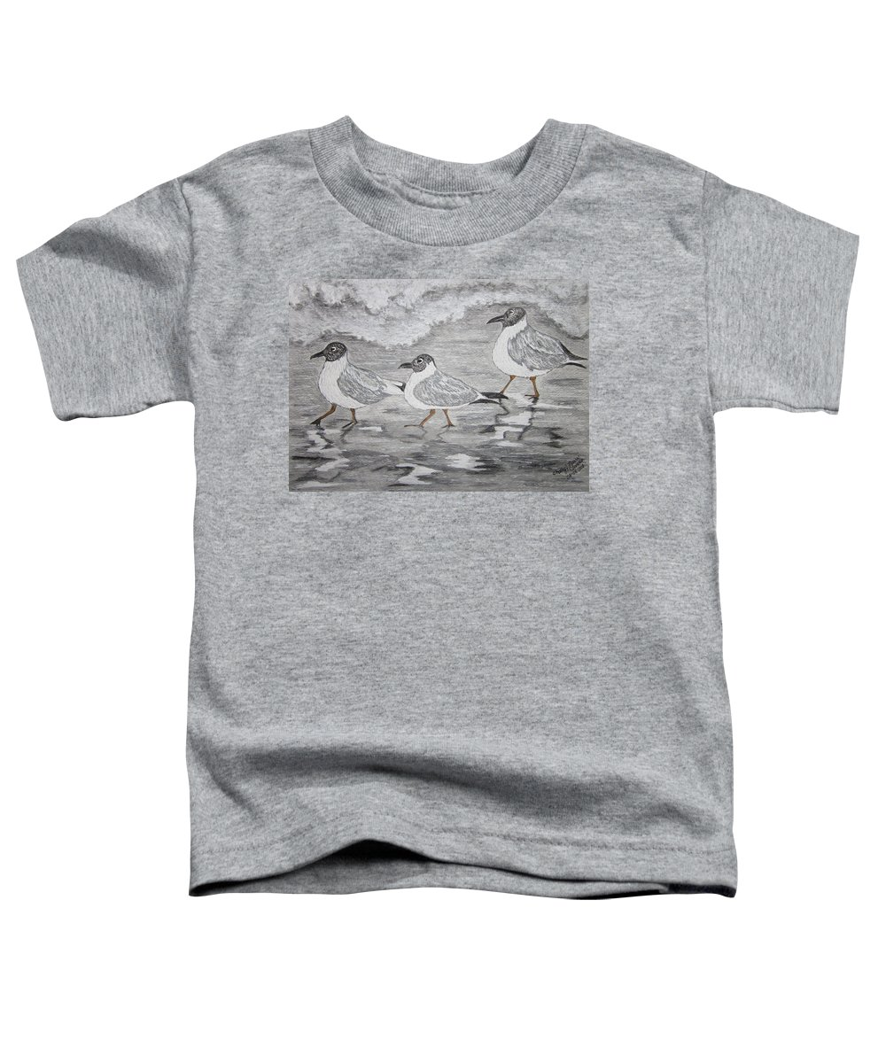 Sea Gulls Toddler T-Shirt featuring the painting Sea Gulls Dodging The Ocean Waves by Kathy Marrs Chandler