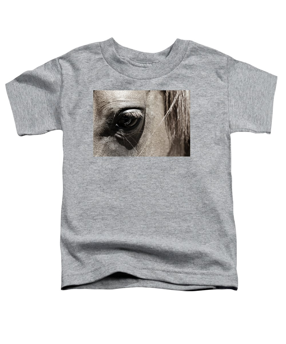 Americana Toddler T-Shirt featuring the photograph Stillness In The Eye Of A Horse by Marilyn Hunt