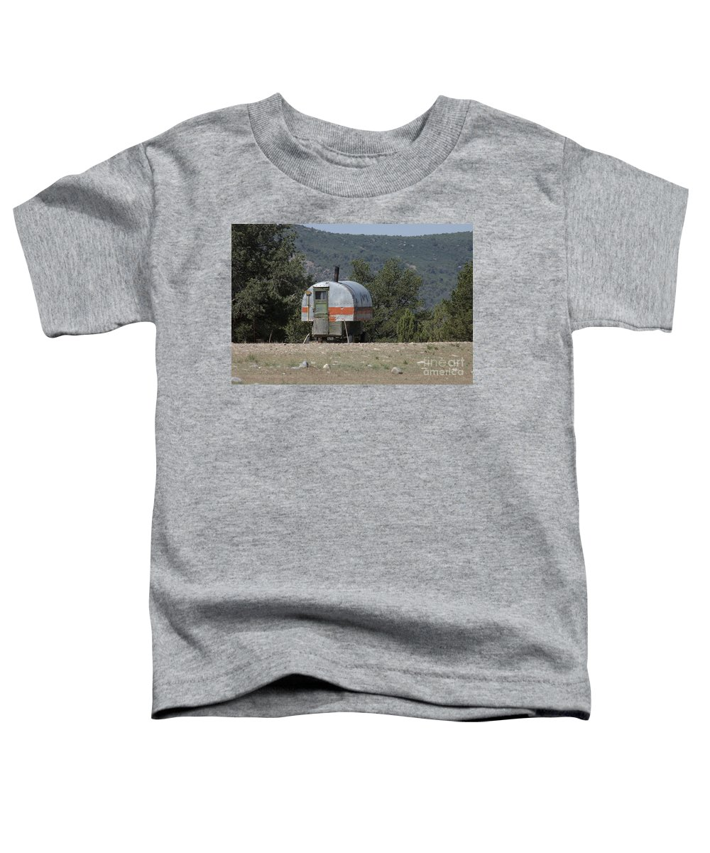 Sheep Toddler T-Shirt featuring the photograph Sheep Herder's Wagon by Jerry McElroy