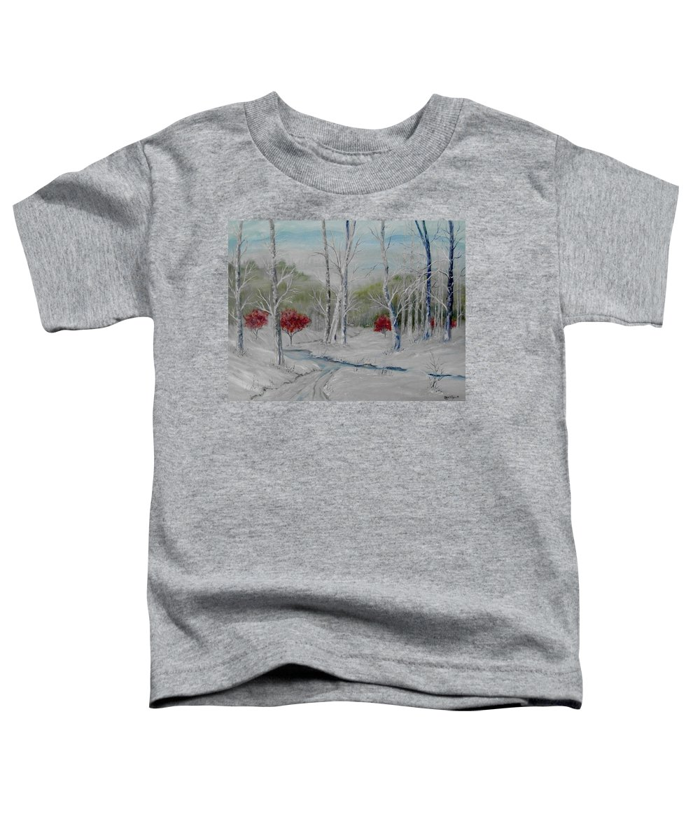 Snow; Winter; Birch Trees Toddler T-Shirt featuring the painting Silence by Ben Kiger