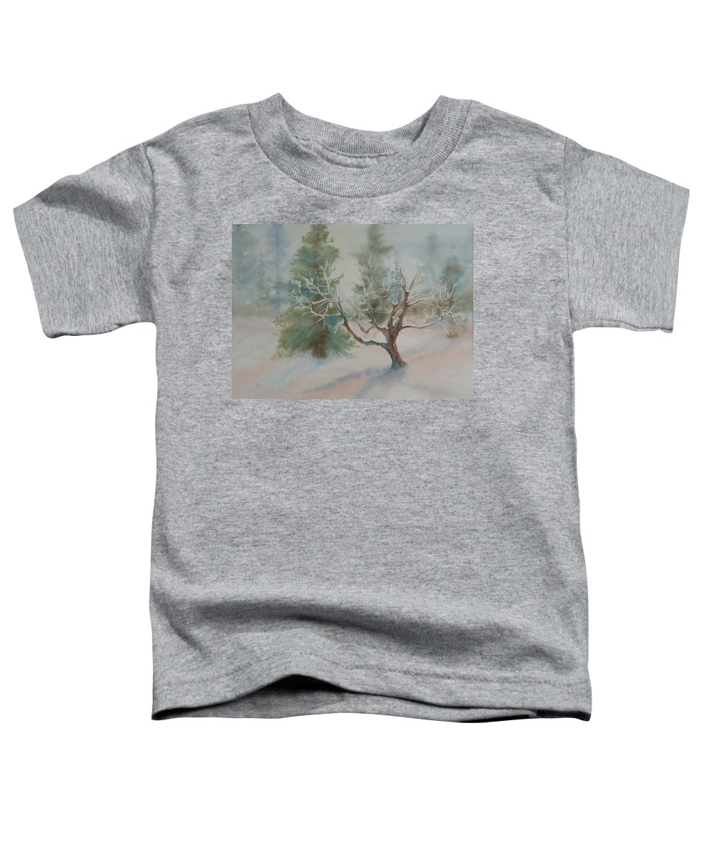 Snow Toddler T-Shirt featuring the painting Silence by Ruth Kamenev