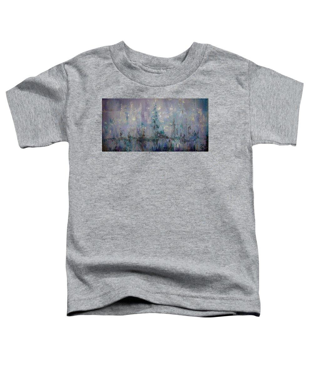 Abstract Toddler T-Shirt featuring the painting Silver And Silent by Shadia Derbyshire