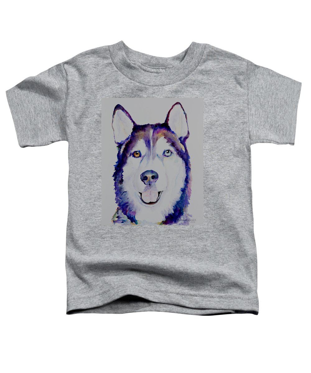 Siberian Husky Toddler T-Shirt featuring the painting Simba by Pat Saunders-White