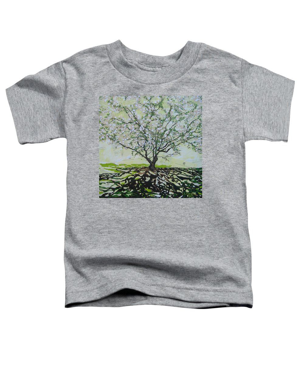 Apple Tree Toddler T-Shirt featuring the painting Sincerely-the Curator by Leah Tomaino