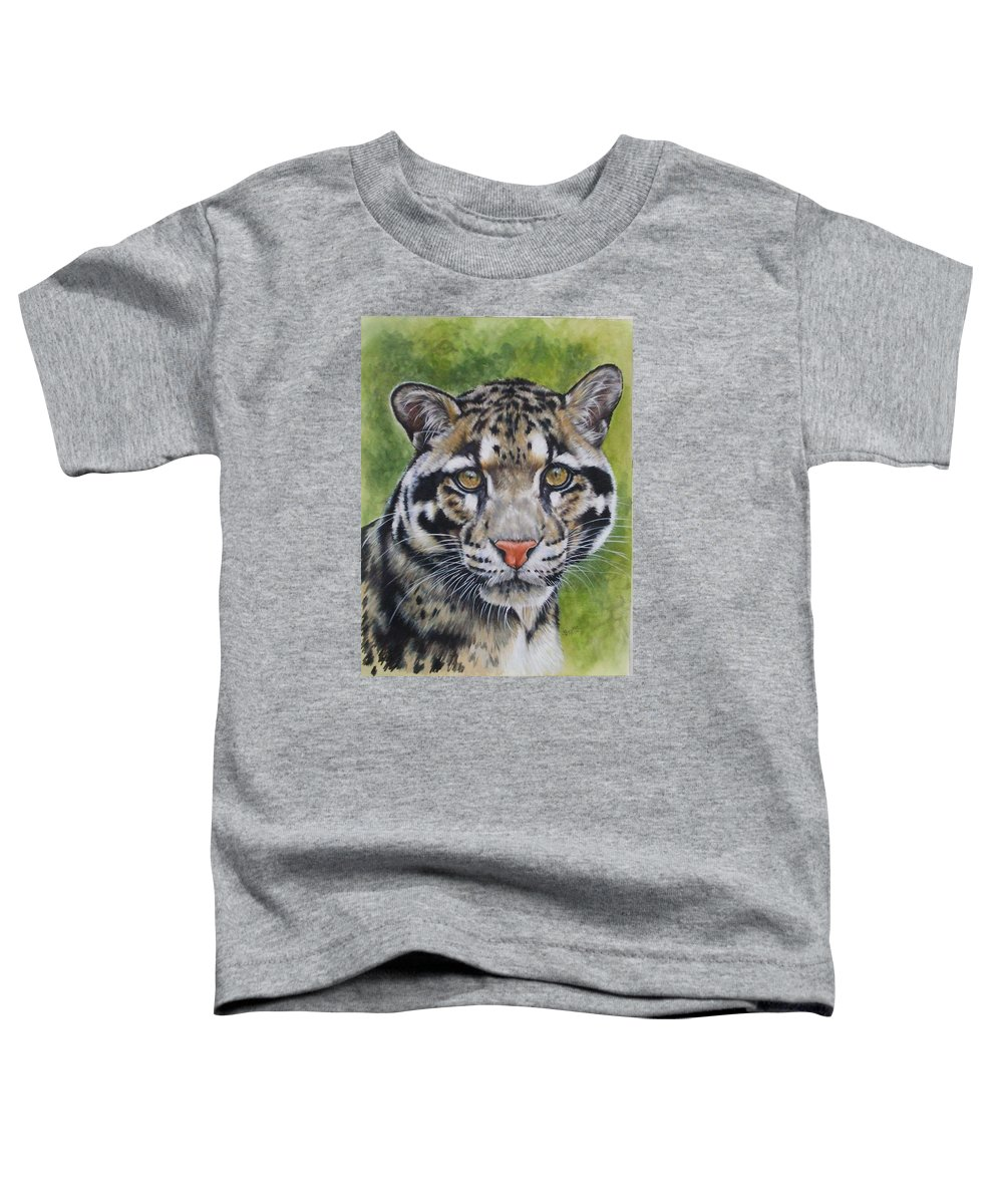 Clouded Leopard Toddler T-Shirt featuring the mixed media Small But Powerful by Barbara Keith