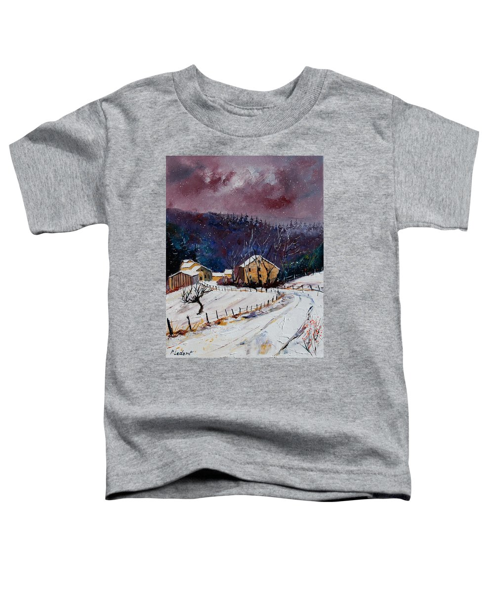 Landscape Toddler T-Shirt featuring the painting Snow In Sechery by Pol Ledent