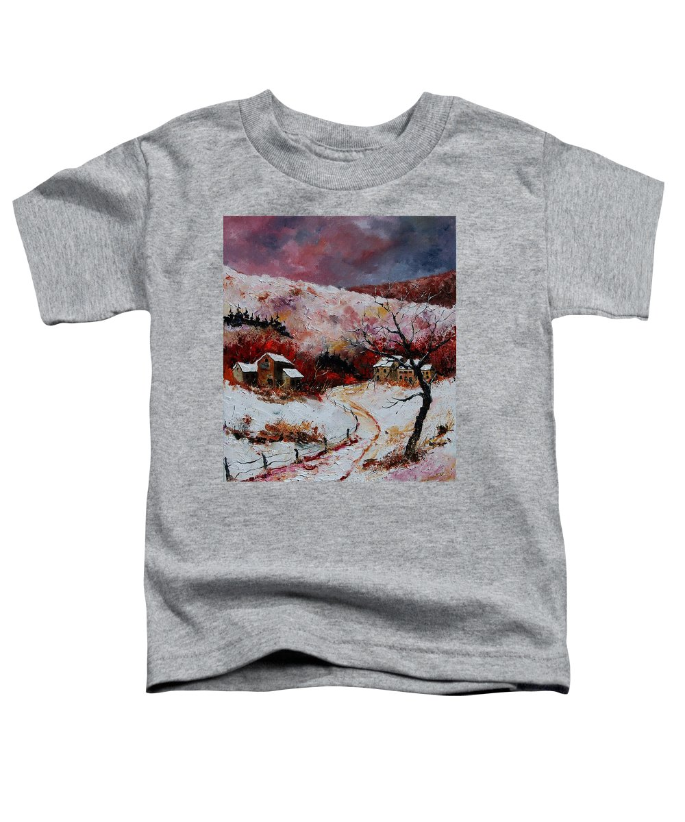 Snow Toddler T-Shirt featuring the painting Snow In The Ardennes 78 by Pol Ledent