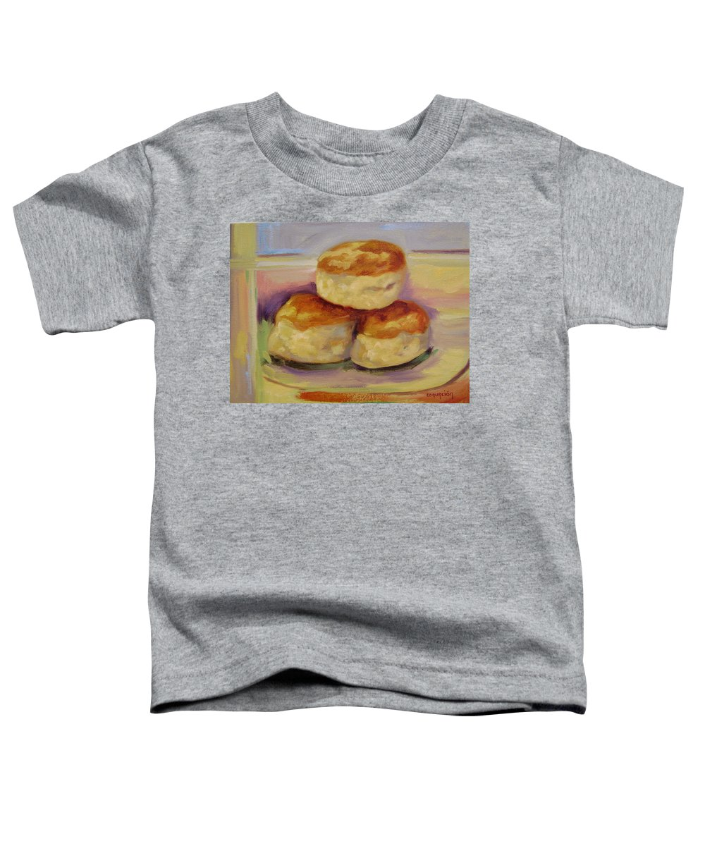 Biscuits Toddler T-Shirt featuring the painting Southern Morning Fare by Ginger Concepcion