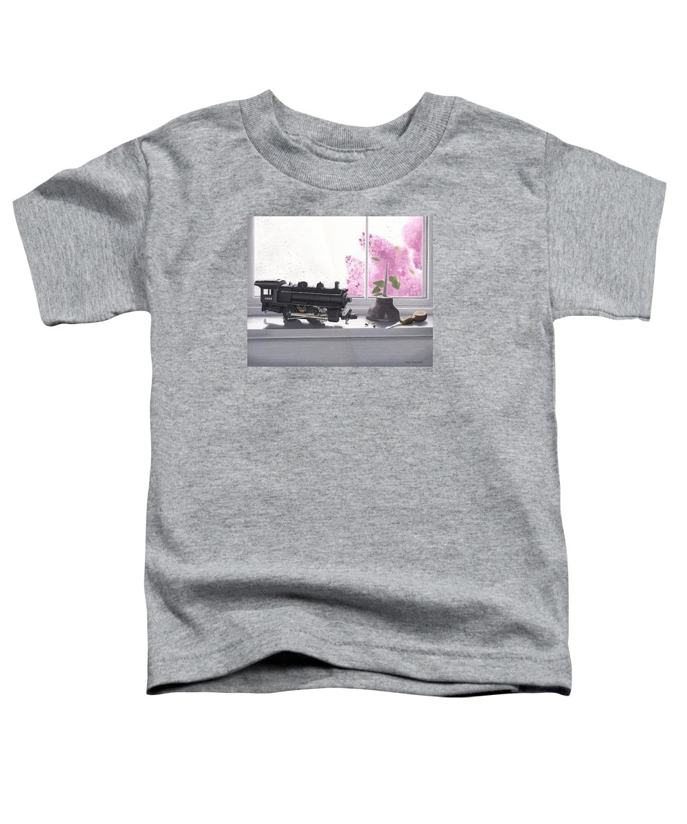 Lionel Toddler T-Shirt featuring the painting Spring Rain Electric Train by Gary Giacomelli