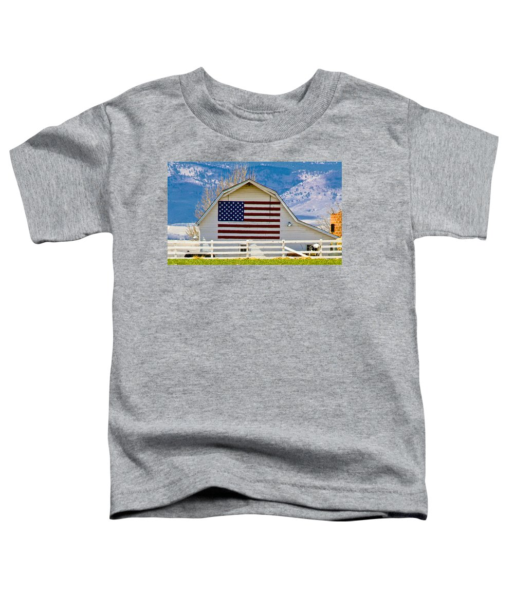 Barn Toddler T-Shirt featuring the photograph Stars Stripes And Barns by Marilyn Hunt