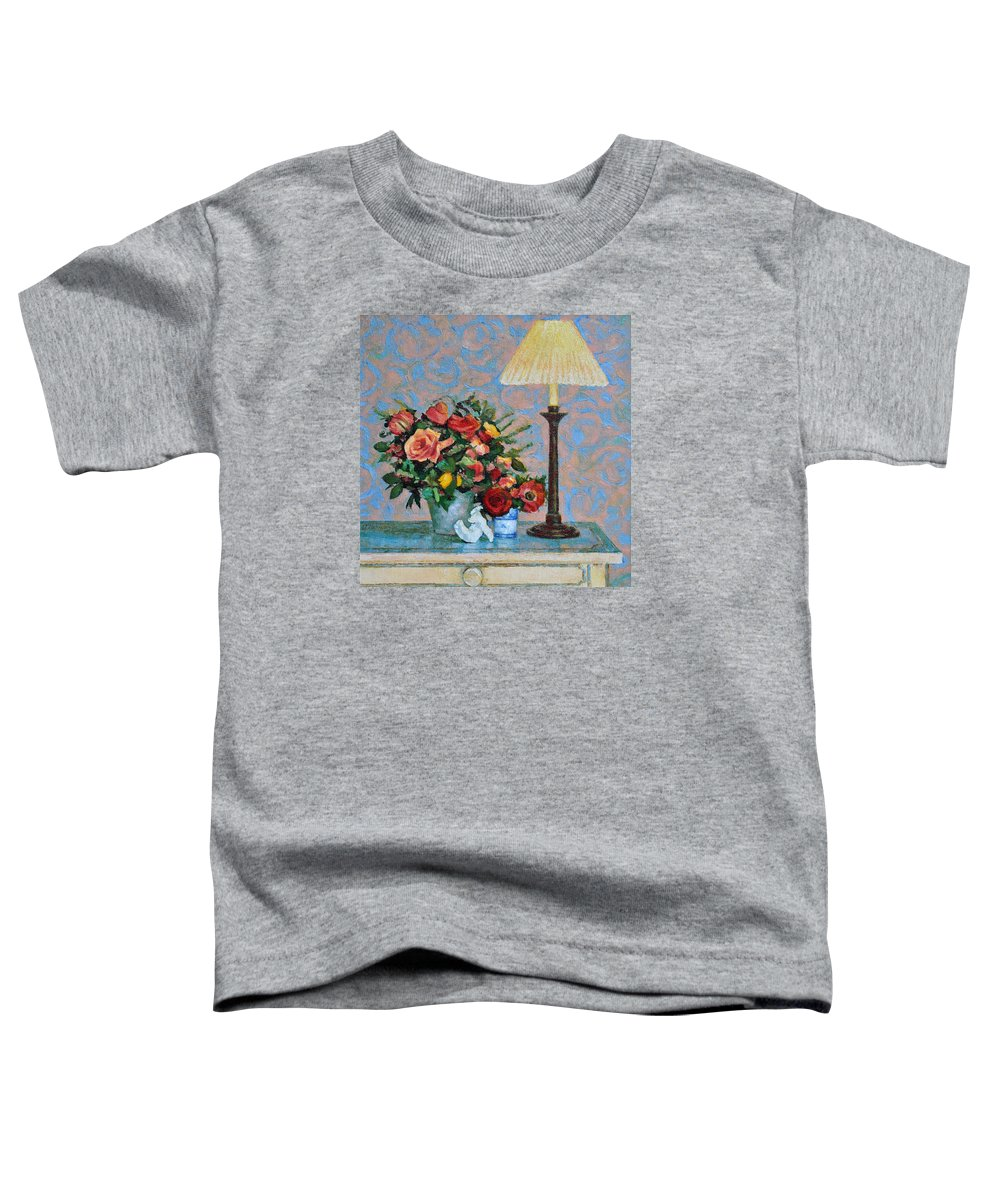 Flowers Toddler T-Shirt featuring the painting Still Life With A Lamp by Iliyan Bozhanov