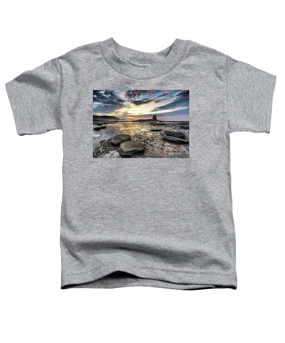 Saltwick Bay Toddler T-Shirt featuring the photograph Summer Sunset Saltwick Bay by Richard Burdon