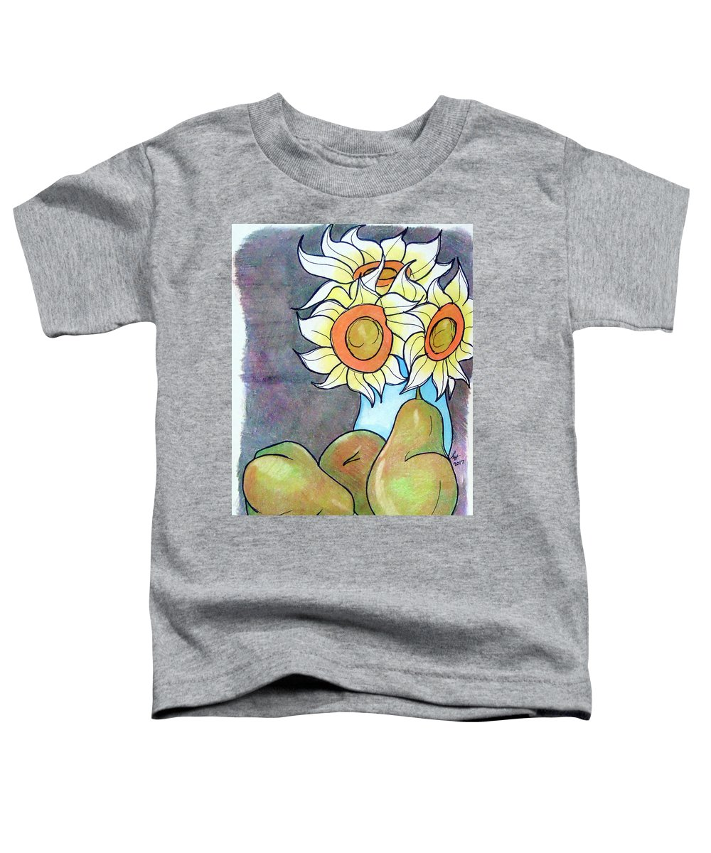 Sunflowers Toddler T-Shirt featuring the drawing Sunflowers And Pears by Loretta Nash