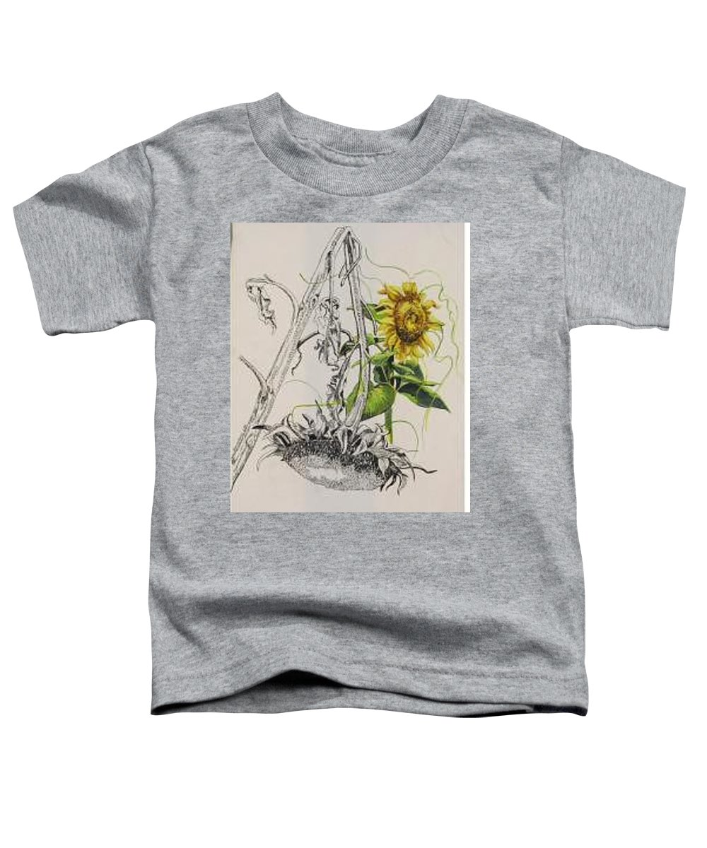 Large Sunflowers Featured Toddler T-Shirt featuring the painting Sunflowers by Wanda Dansereau