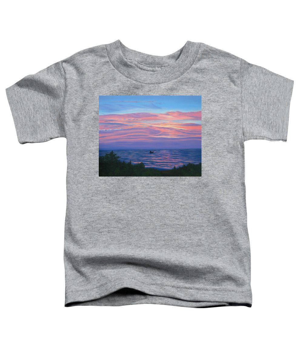 Seascape Toddler T-Shirt featuring the painting Sunset Bay by Lea Novak