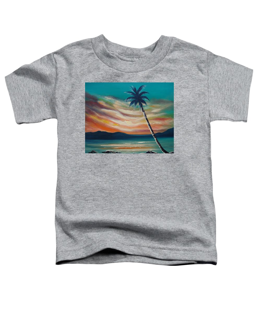 Sunset Toddler T-Shirt featuring the painting Sunset In Paradise by Gina De Gorna