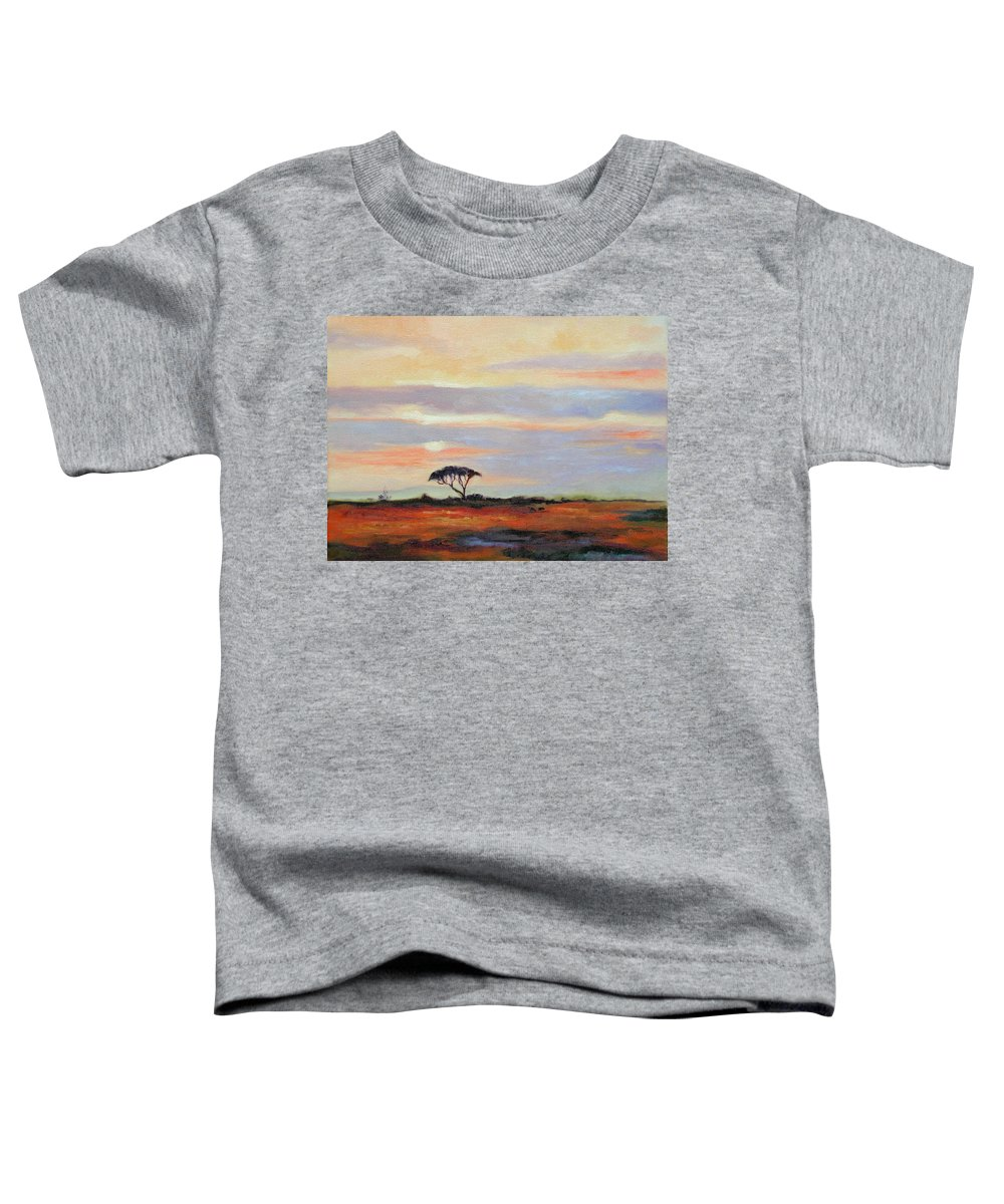 Landscape Toddler T-Shirt featuring the painting Sunset On The Serengheti by Ginger Concepcion