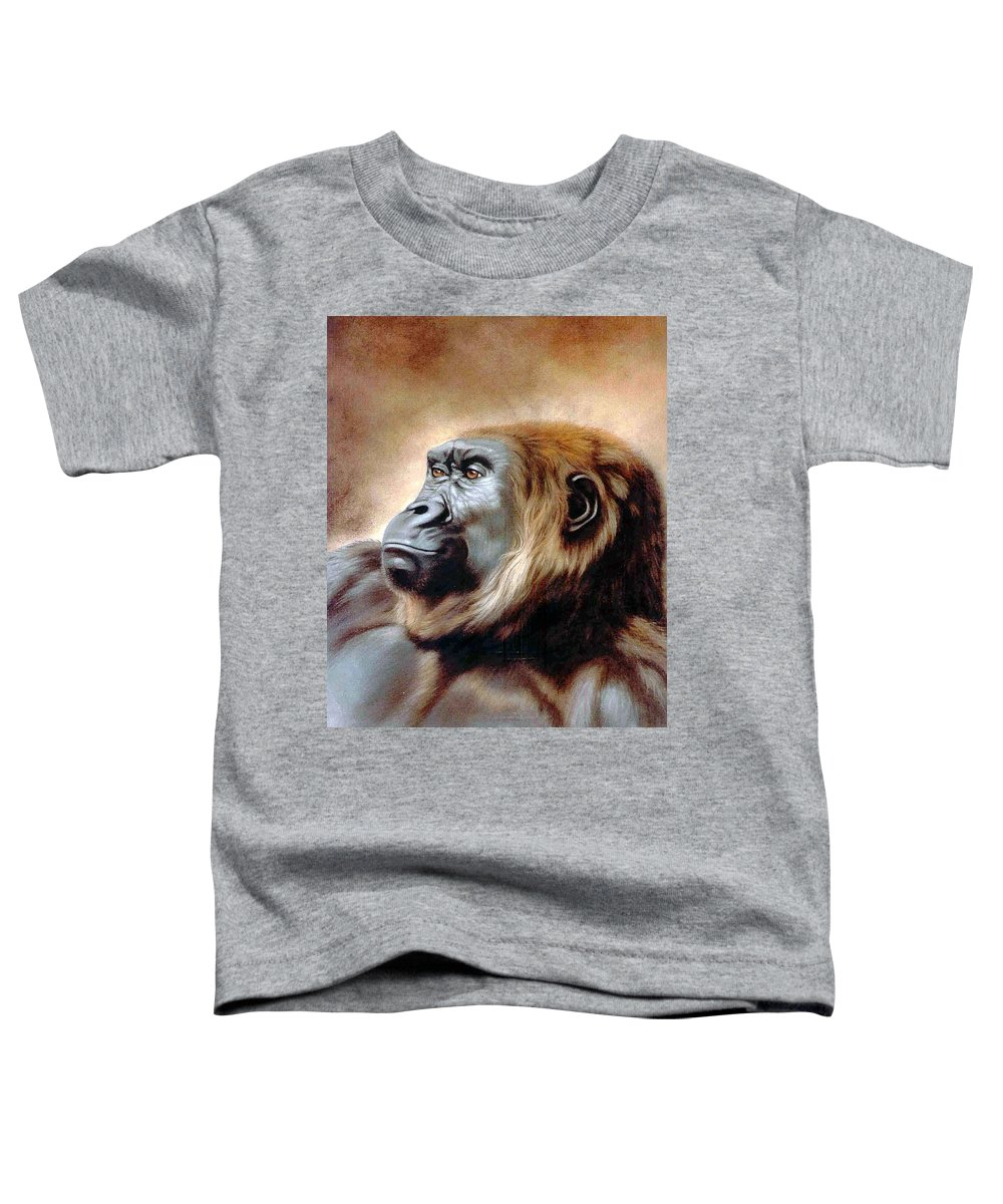 Gorilla Toddler T-Shirt featuring the painting Suzie Q by Deb Owens-Lowe