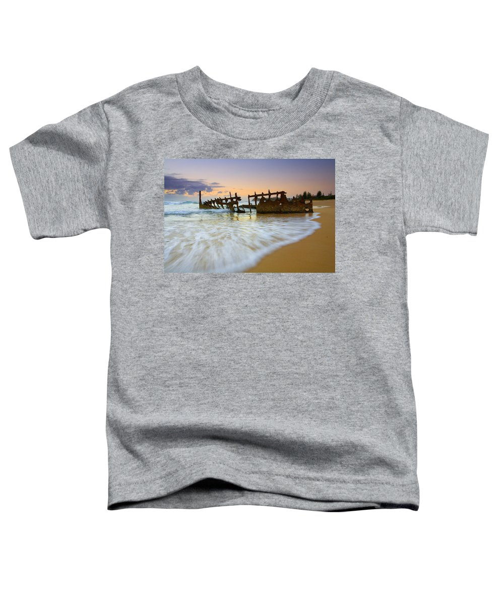 Shipwreck Toddler T-Shirt featuring the photograph Swallowed By The Tides by Mike Dawson
