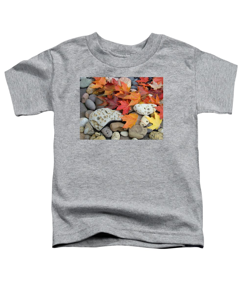 Art Toddler T-Shirt featuring the photograph Sweet Autumn 1 Autumn Leaves Rock Designs Photography Digital Art Prints by Baslee Troutman