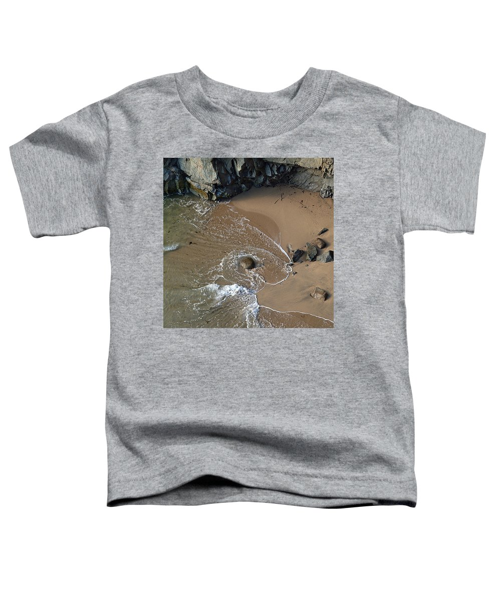 Big Sur Toddler T-Shirt featuring the photograph Swirling Surf And Rocks by Charlene Mitchell