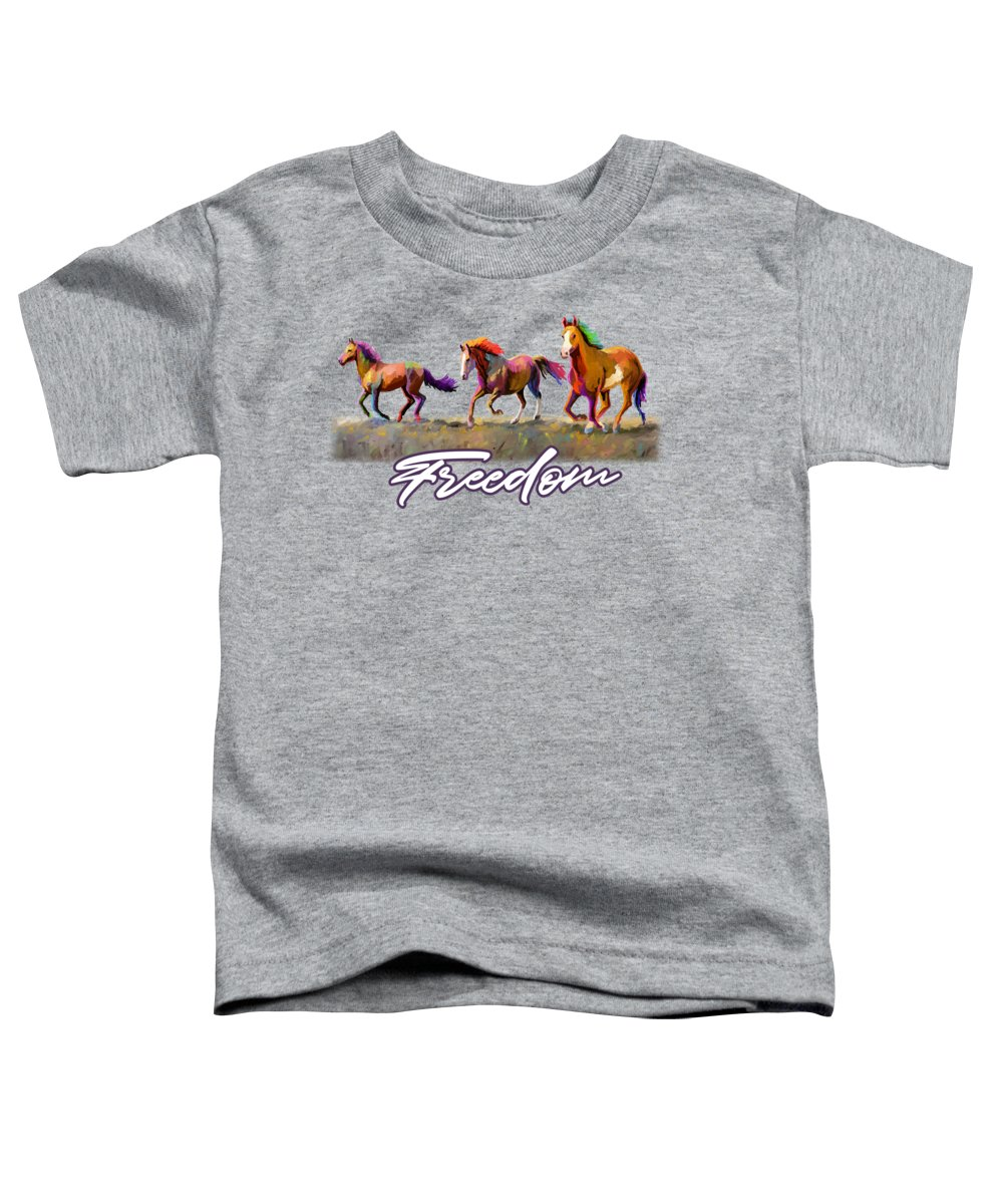 Horse Toddler T-Shirt featuring the painting Taste Of Freedom by Anthony Mwangi