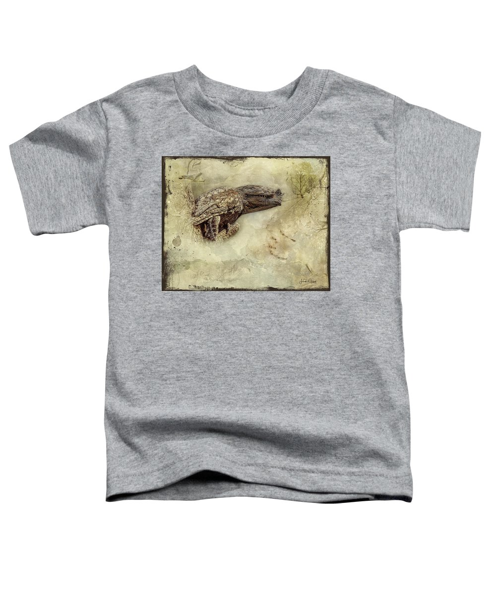 Tawny Frogmouth Toddler T-Shirt featuring the digital art Tawny Frogmouth by Linda Lee Hall