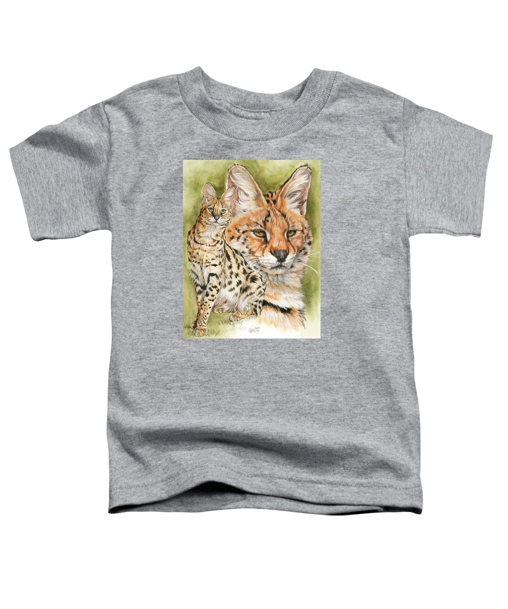Serval Toddler T-Shirt featuring the mixed media Tempo by Barbara Keith