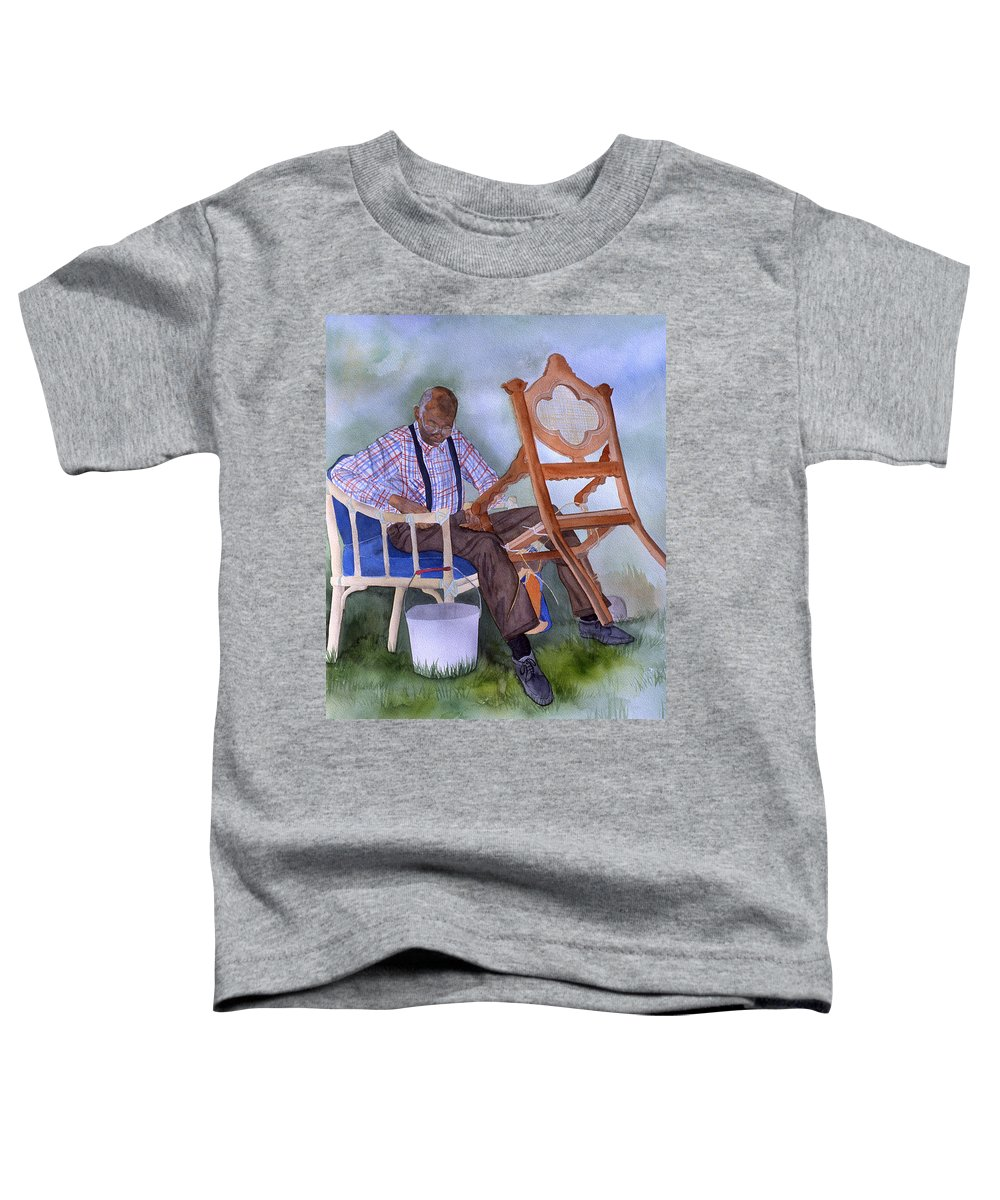 Portrait Toddler T-Shirt featuring the painting The Art Of Caning by Jean Blackmer