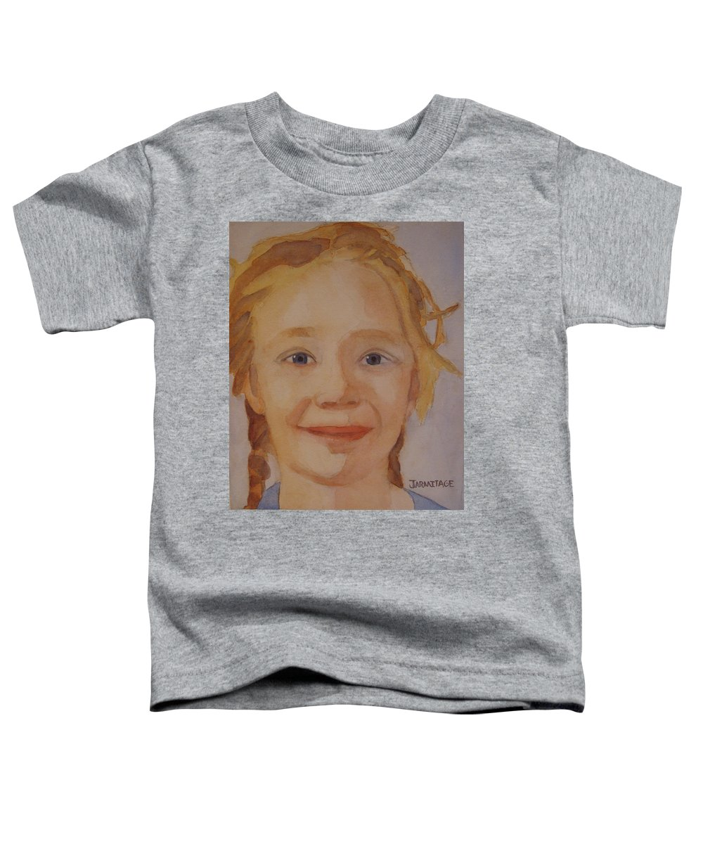 Partrait Toddler T-Shirt featuring the painting The Blue-eyed Duckling by Jenny Armitage