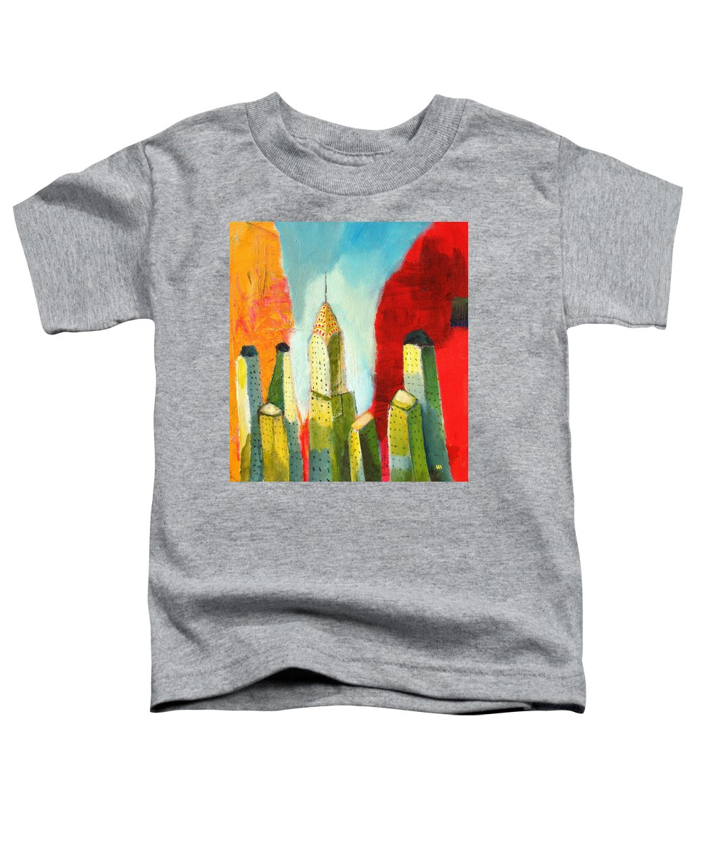 Abstract Cityscape Toddler T-Shirt featuring the painting The Chrysler In Colors by Habib Ayat