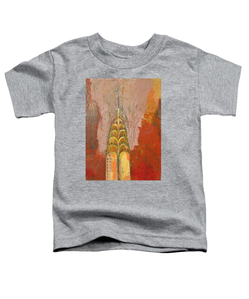 Abstract Cityscape Toddler T-Shirt featuring the painting The Chrysler In Motion by Habib Ayat