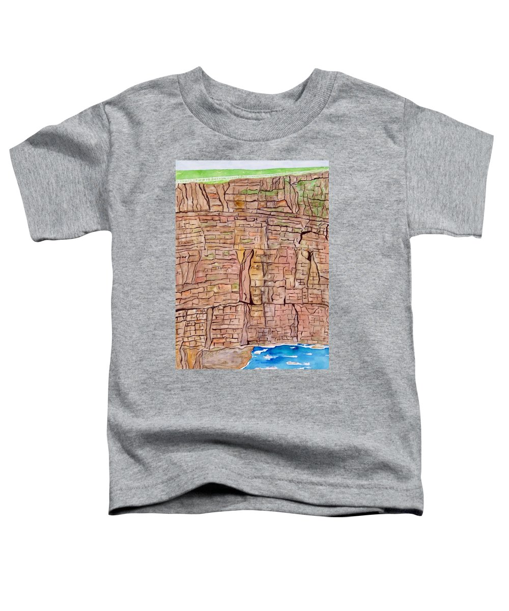 Ireland Art Toddler T-Shirt featuring the painting The Cliffs Of Mohr In Ireland by Larry Wright