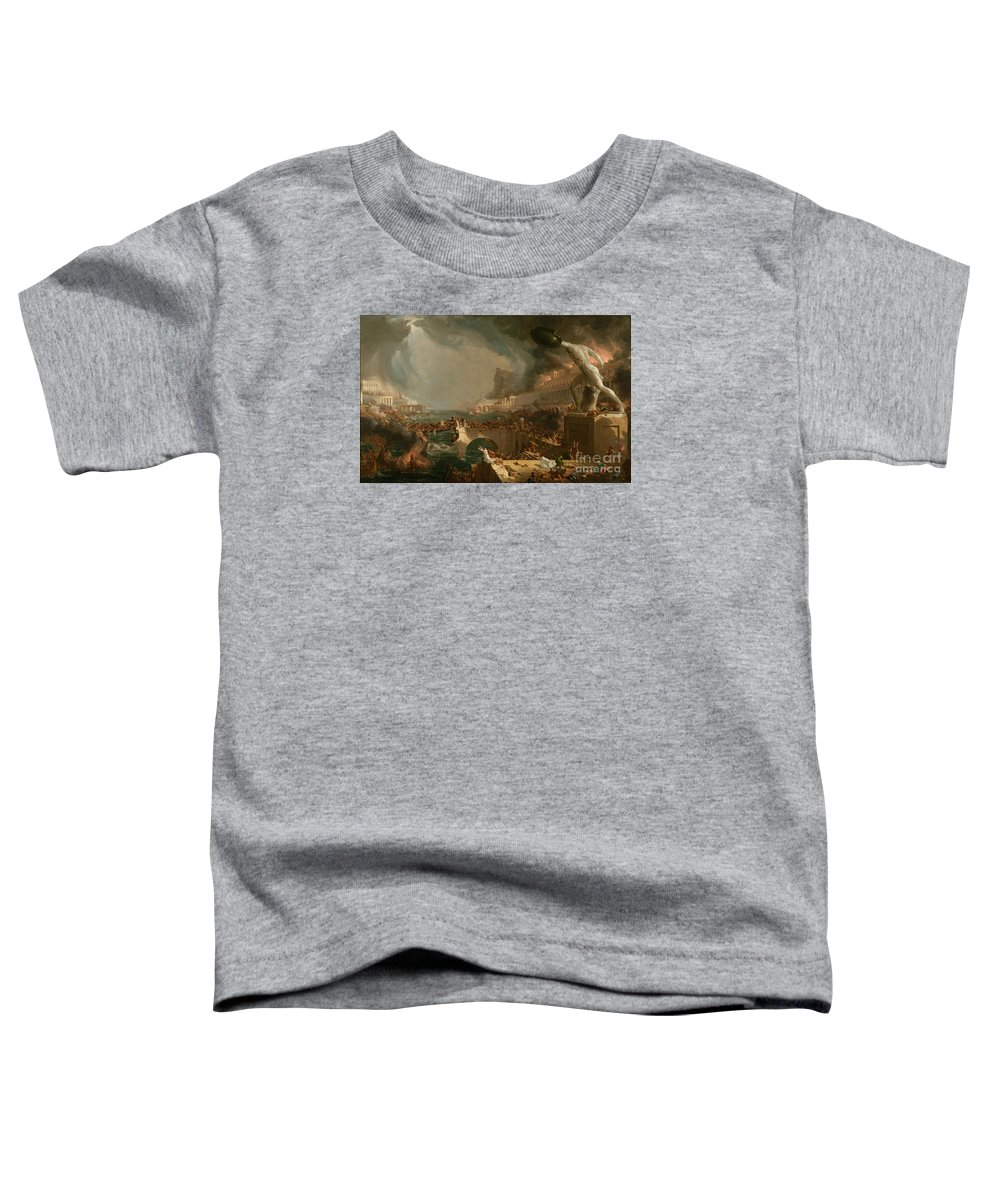 Cole Thomas Toddler T-Shirt featuring the painting The Course Of Empire Destruction by Thomas Cole