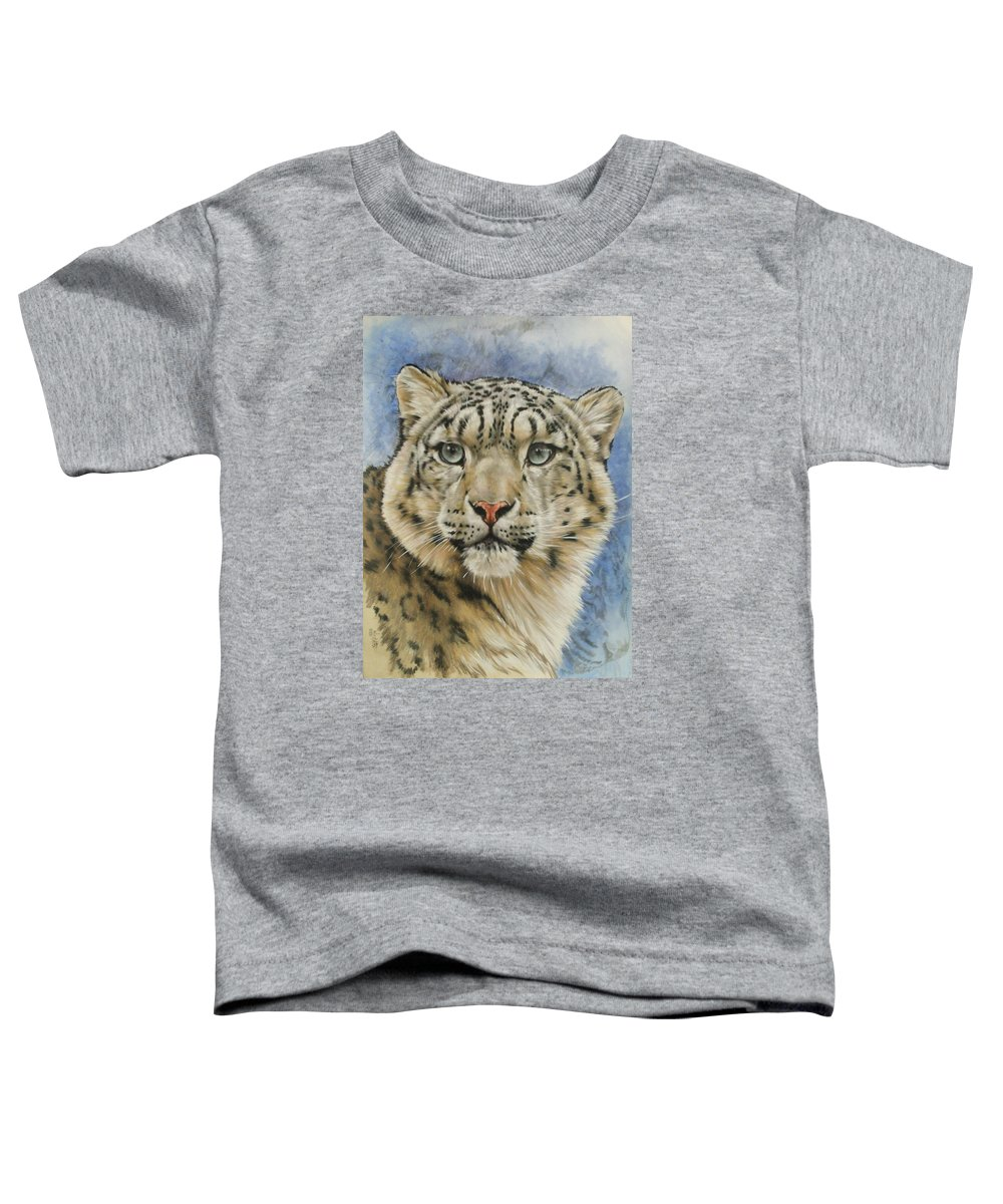 Snow Loepard Toddler T-Shirt featuring the mixed media The Gaze by Barbara Keith